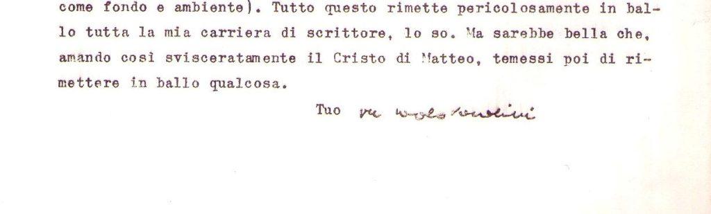 Lettera di Pier Paolo Pasolini all'ANICA (Associazione Nazionale Industrie Cinematografiche Audiovisive)